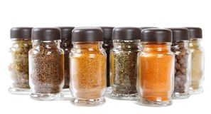 Bottles with seasonings Royalty Free Stock Photo
