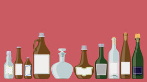 Bottles set: alcoholic beverages Stock Image