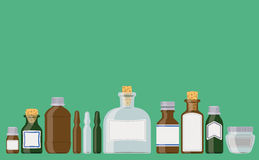 Bottles. Set: medicine containers in a row as if standing on a shelf vector illustration