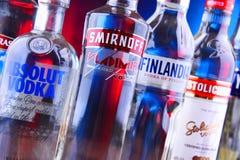 Bottles of several global brands of vodka. POZNAN, POLAND - NOV 15, 2018: Bottles of several global brands of vodka, the world's largest internationally stock photography