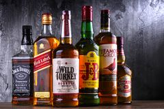 Bottles of several global whiskey brands Royalty Free Stock Photo
