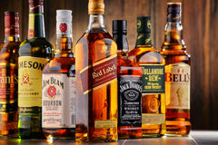 Bottles of several whiskey brands from USA, Ireland and Scotland Royalty Free Stock Photography