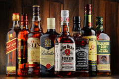 Bottles of several whiskey brands from USA, Ireland and Scotland Stock Image