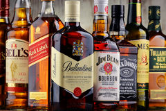 Bottles of several whiskey brands from USA, Ireland and Scotland Royalty Free Stock Image