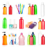 Bottles shampoo, towels, toothbrushes and nail pol Stock Photo
