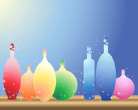 Bottles on a shelf. An illustration of colorful glass bottles on a wooden shelf with blue and yellow background vector illustration