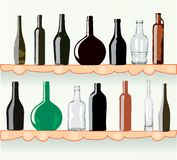 Bottles on shelf Stock Photo