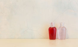 Bottles  of shower gel and shampoo Stock Photo