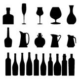 Bottles silhouettes. Set of different bottles silhouettes on white background Stock Images