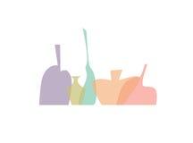 Bottles silhouettes av vit bakgrund stock illustrationer