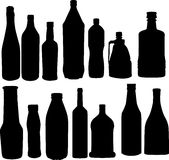 Bottles silhouettes collection Royalty Free Stock Image