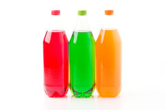 Bottles with soft drinks. Isolated on a white background Royalty Free Stock Photography