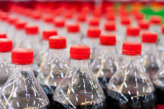 Bottles with soft drinks. Plastic bottles with soft drinks background Royalty Free Stock Photography