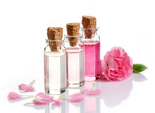 Bottles of Spa essential oils royalty free stock photos