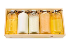 Bottles of spa oil and salt Stock Photos
