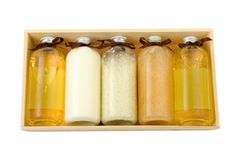 Bottles of spa oil and salt Royalty Free Stock Image