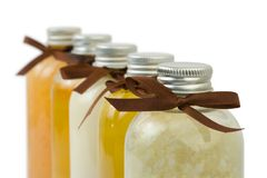 Bottles of spa oil and salt Royalty Free Stock Photo