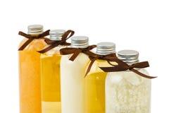 Bottles of spa oil and salt Stock Image