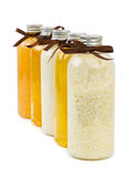 Bottles of spa oil and salt Stock Image