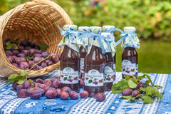 Bottles with  spicy plum sauce Royalty Free Stock Photo