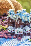 Bottles with  spicy plum sauce Stock Photos