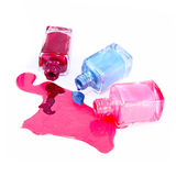 Bottles with spilled nail polish Stock Photography
