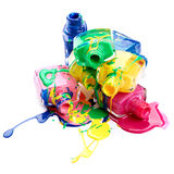 Bottles with spilled nail polish Royalty Free Stock Photos