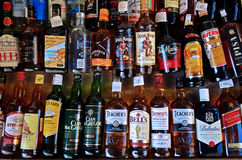 Bottles of spirits. Different bottles of alcohol in Malta, Europe Stock Photos