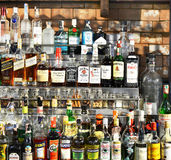 Bottles of spirits and liquor at the bar Royalty Free Stock Photography