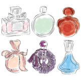Bottles of spirits were drawn to watercolor style. Perfume bottles painted in watercolor style Royalty Free Stock Photography