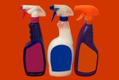 Bottles of spray cleaning products. household. Stock Photography