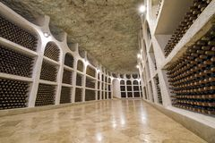 Bottles storage in winery royalty free stock image