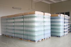 Bottles stored in depot. Bottles stored for delivery in depot Royalty Free Stock Photo