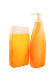 Bottles of Sunbath oil or sunscreen Royalty Free Stock Image