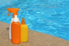 Bottles of Suncare or sunscreen products. Vacation suncare or sunscreen products plastic bottles Royalty Free Stock Images