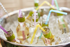 Bottles with tasty drink in ice. Shallow dof Royalty Free Stock Images