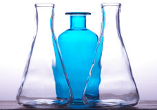 The bottles and their glass trasparency Stock Images