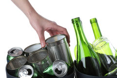 Bottles and tins Royalty Free Stock Photo