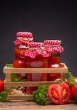 Bottles of tomato juice Royalty Free Stock Photography