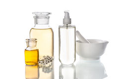 Bottles and tools for herbal medicine Stock Images