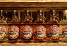 Bottles of Moonshine. Bottles of vanilla moonshine at the Three Boys Farm Distillery in Central Kentucky stock image