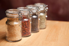 Bottles of Various Spices Stock Photography