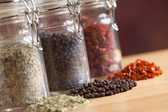 Bottles of Various Spices Royalty Free Stock Images