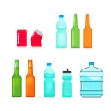Bottles vector collection  on white, full and empty Royalty Free Stock Images