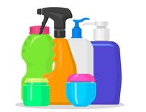 Bottles vector household chemicals supplies and cleaning housework plastic detergent liquid domestic fluid bottle. Cleaner pack illustration. Sanitize soap Stock Photo