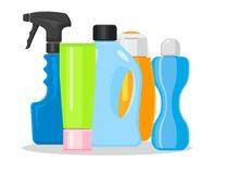 Bottles vector household chemicals supplies and cleaning housework plastic detergent liquid domestic fluid bottle. Cleaner pack illustration. Sanitize soap Royalty Free Stock Image