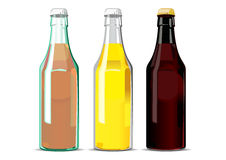 Bottles. Vector illustration of three bottles with different drinks. Can be used as beer, cider, lemonade advertisement Royalty Free Stock Images