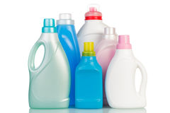 Bottles with washing fluid Stock Images