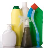 Bottles with washing liquid and cleaning brush Royalty Free Stock Image