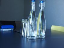 Bottled water in meeting room Stock Images